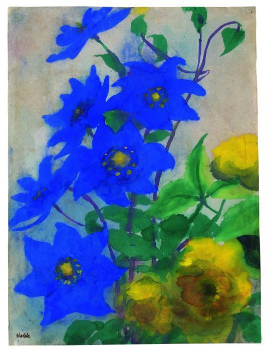blaue akelei und gelbe rosen von emil nolde kaufen verkaufen van ham kunstauktionen. Black Bedroom Furniture Sets. Home Design Ideas