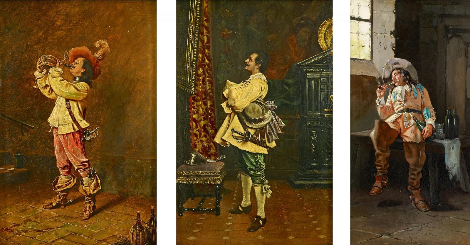 Drei Gemälde, davon zwei zusammen gerahmt von Francesco Vinea ...