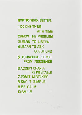 "Konvolut von 5 Serigrafien (Aus: ""How to work better""), Auktion 1036 Los 58, Van..."